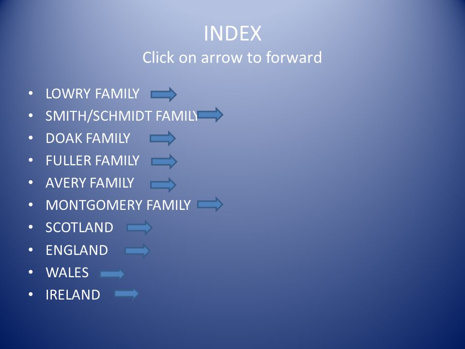 INDEX Click on arrow to forward LOWRY FAMILY SMITH/SCHMIDT FAMILY DOAK FAMILY FULLER FAMILY AVERY FAMILY MONTGOMERY FAMILY SCOTLAND ENGLAND WALES IREL