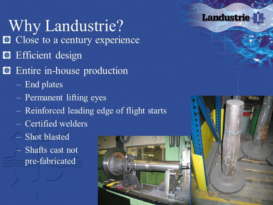 Why Landustrie? Close to a century experience Efficient design Entire in-house production –End plates –Permanent lifting eyes –Reinforced leading edge