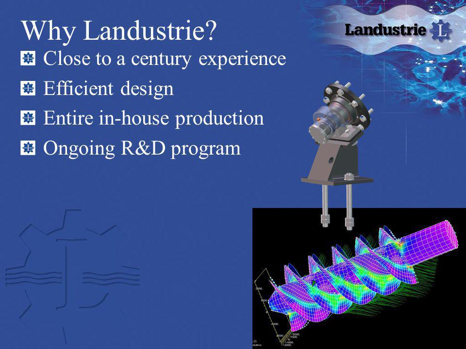 Close to a century experience Efficient design Entire in-house production Ongoing R&D program