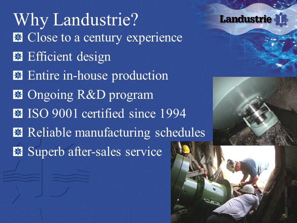 Why Landustrie? Close to a century experience Efficient design Entire in-house production Ongoing R&D program ISO 9001 certified since 1994 Reliable m