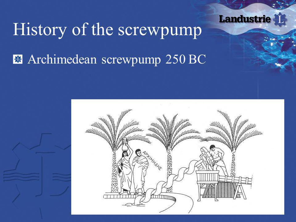History of the screwpump Archimedean screwpump 250 BC