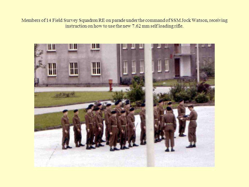 Members of 14 Field Survey Squadron RE on parade under the command of SSM Jock Watson, receiving instruction on how to use the new 7.62 mm self loadin