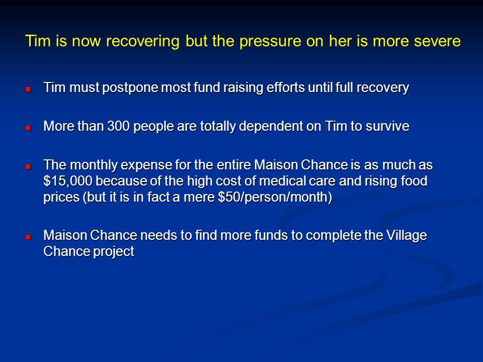 Tim must postpone most fund raising efforts until full recovery Tim must postpone most fund raising efforts until full recovery More than 300 people a