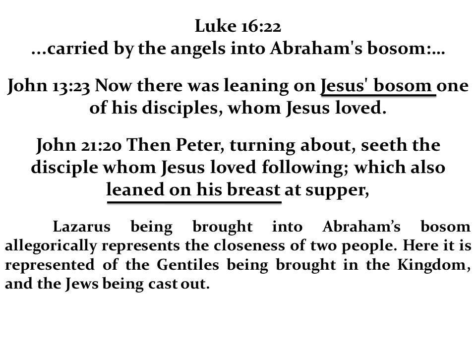 Luke 16:22...carried by the angels into Abraham's bosom:… John 13:23 Now there was leaning on Jesus' bosom one of his disciples, whom Jesus loved. Joh