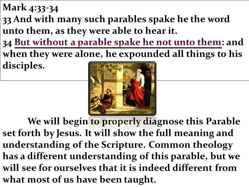 We will begin to properly diagnose this Parable set forth by Jesus.