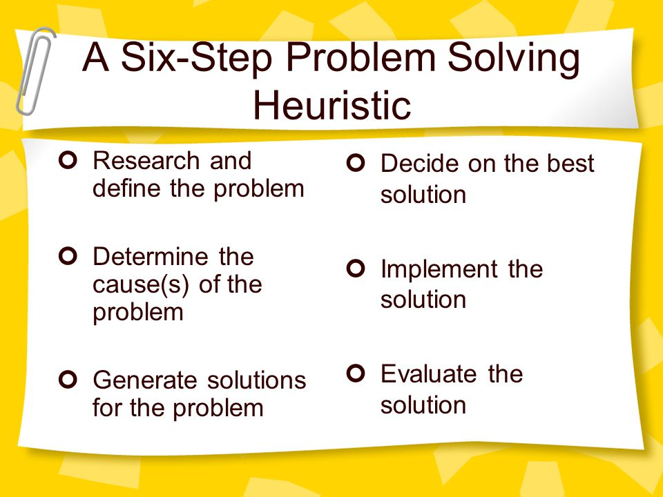 A Six-Step Problem Solving Heuristic Research and define the problem Determine the cause(s) of the problem Generate solutions for the problem Decide o