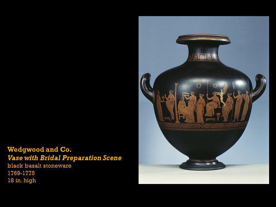 Wedgwood and Co. Vase with Bridal Preparation Scene black basalt stoneware 1769-1775 18 in. high