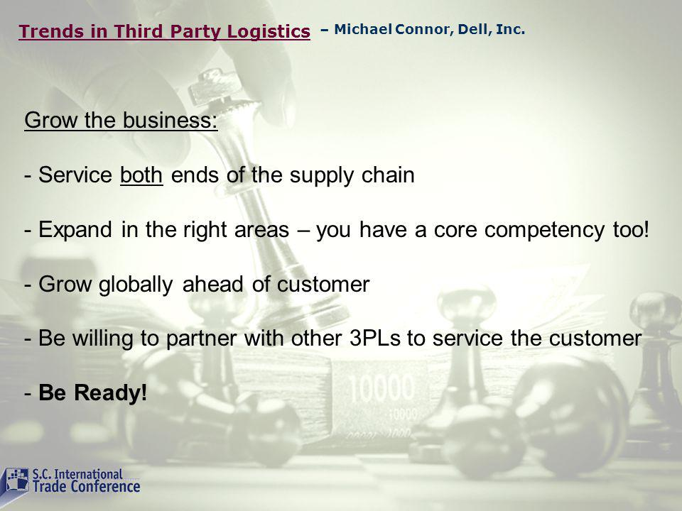 Trends in Third Party Logistics Grow the business: - Service both ends of the supply chain - Expand in the right areas – you have a core competency too.