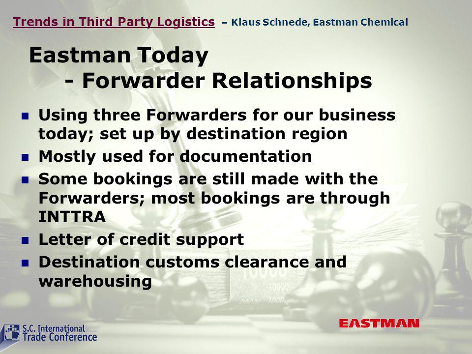 Trends in Third Party Logistics Eastman Today - Forwarder Relationships Using three Forwarders for our business today; set up by destination region Mostly used for documentation Some bookings are still made with the Forwarders; most bookings are through INTTRA Letter of credit support Destination customs clearance and warehousing – Klaus Schnede, Eastman Chemical