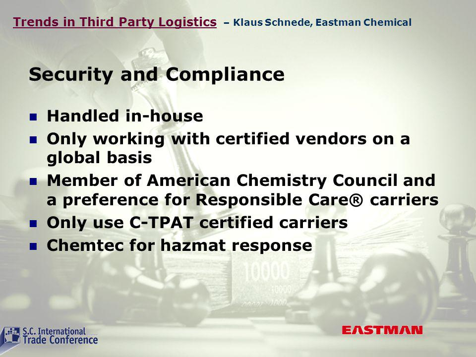 Trends in Third Party Logistics Security and Compliance Handled in-house Only working with certified vendors on a global basis Member of American Chemistry Council and a preference for Responsible Care® carriers Only use C-TPAT certified carriers Chemtec for hazmat response – Klaus Schnede, Eastman Chemical