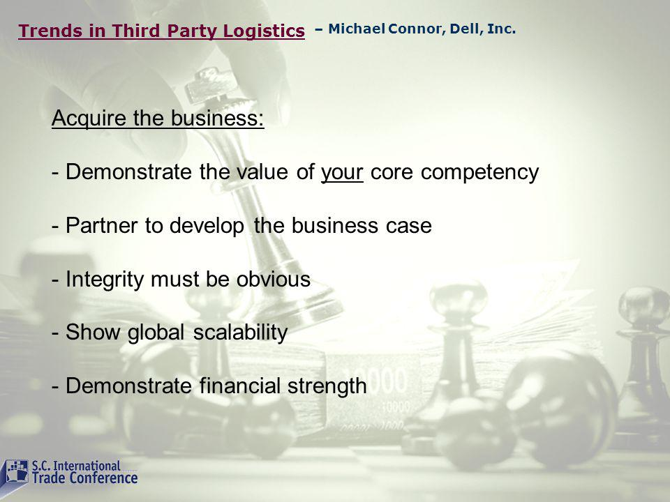 Trends in Third Party Logistics Where do the Carriers Stand Profits have been compressed by internal and external forces Fuel costs, environmental challenges, limits to NAT Infrastructure and more Some Carriers trying to make the jump from liner mentality to logistics management Historical results of the carrier/3PL is mixed or clouded Major challenge to be a multi carrier 3PL when you are a carrier – Edward Zaninelli, OOCL