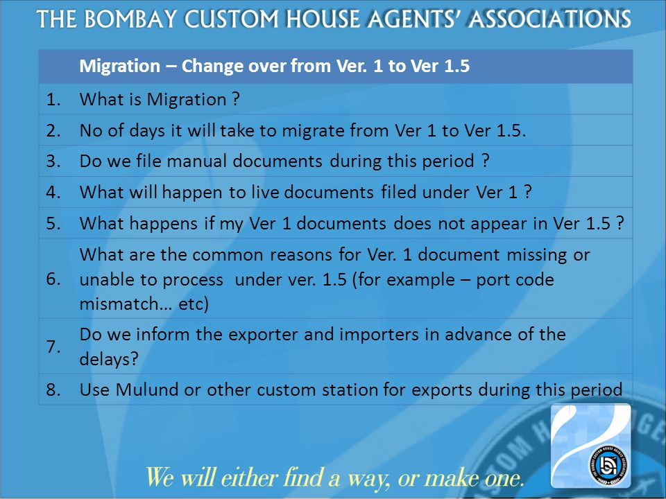 Migration – Change over from Ver. 1 to Ver 1.5 1. What is Migration ? 2. No of days it will take to migrate from Ver 1 to Ver 1.5. 3. Do we file manua