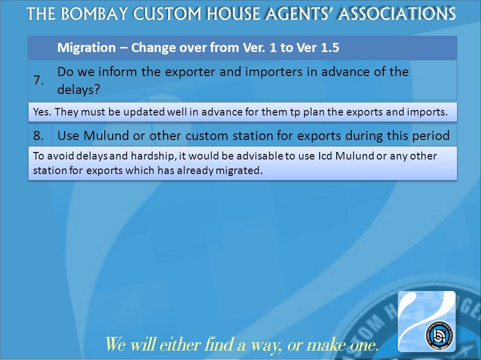 Migration – Change over from Ver. 1 to Ver 1.5 7. Do we inform the exporter and importers in advance of the delays? 8. Use Mulund or other custom stat