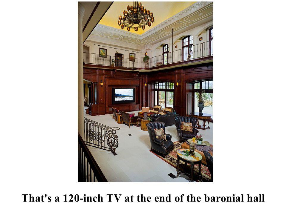 The great room has 45-foot ceilings