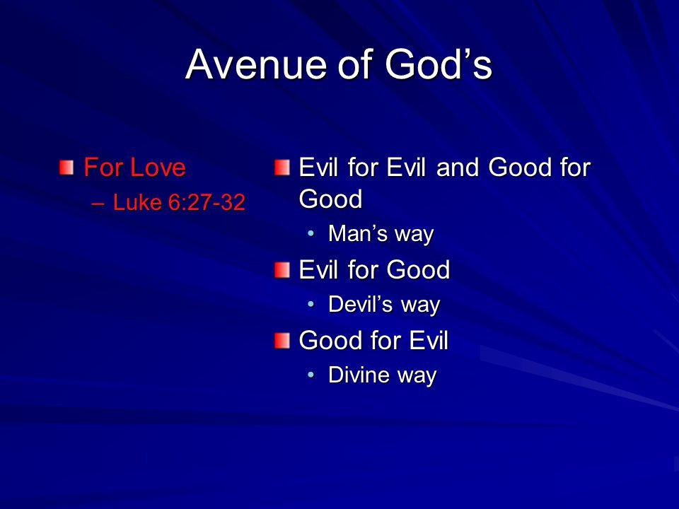 Avenue of Gods For Love –L–L–L–Luke 6:27-32 Evil for Evil and Good for Good Mans way Evil for Good Devils way Good for Evil Divine way