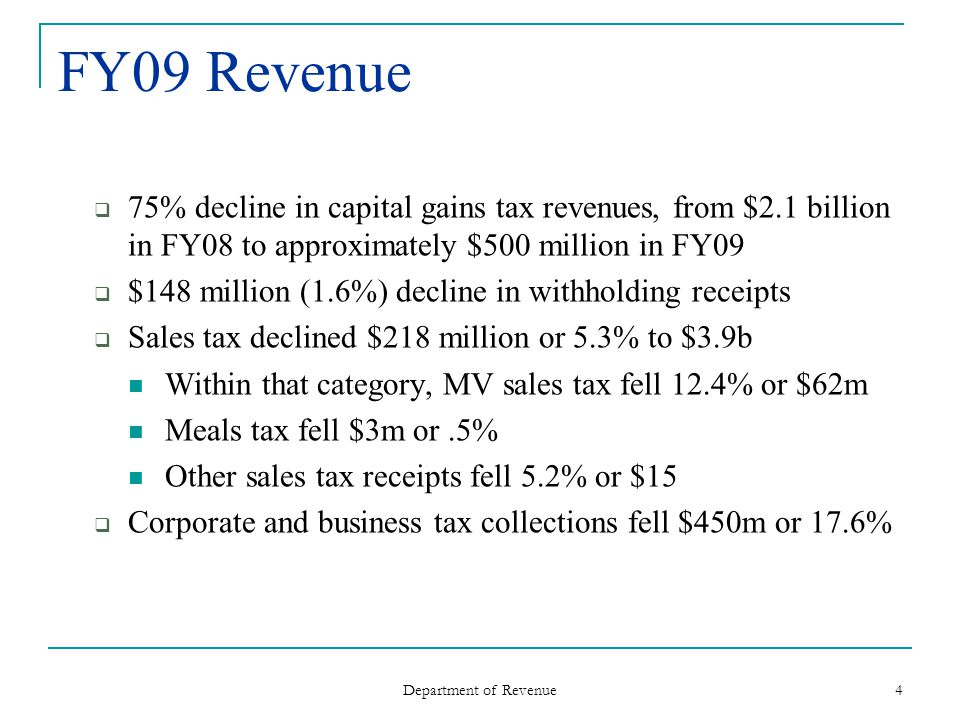 Department of Revenue 4 FY09 Revenue 75% decline in capital gains tax revenues, from $2.1 billion in FY08 to approximately $500 million in FY09 $148 million (1.6%) decline in withholding receipts Sales tax declined $218 million or 5.3% to $3.9b Within that category, MV sales tax fell 12.4% or $62m Meals tax fell $3m or.5% Other sales tax receipts fell 5.2% or $15 Corporate and business tax collections fell $450m or 17.6%