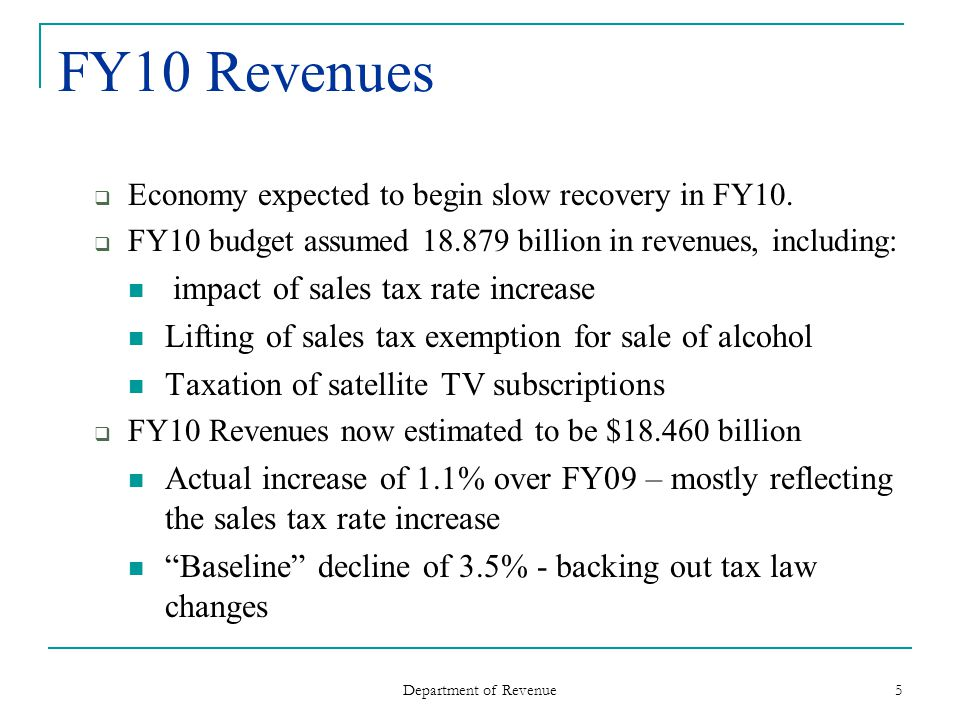 Department of Revenue 5 FY10 Revenues Economy expected to begin slow recovery in FY10.