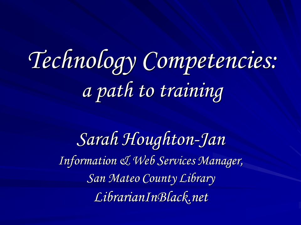 Technology competencies are a list of things staff should know how to do with technology in order to do their jobs.