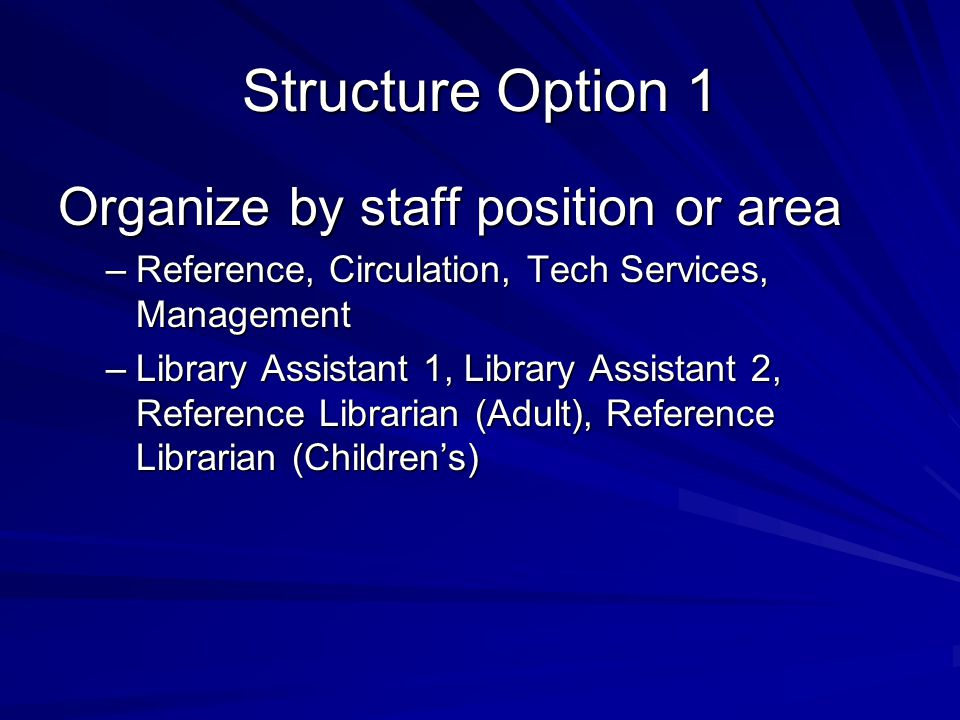 Structure Option 1 Organize by staff position or area –Reference, Circulation, Tech Services, Management –Library Assistant 1, Library Assistant 2, Re