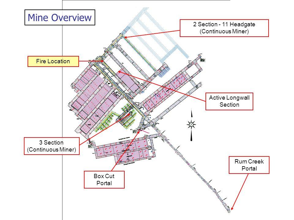 Mine Overview Rum Creek Portal Fire Location Box Cut Portal 3 Section (Continuous Miner) Active Longwall Section 2 Section - 11 Headgate (Continuous M
