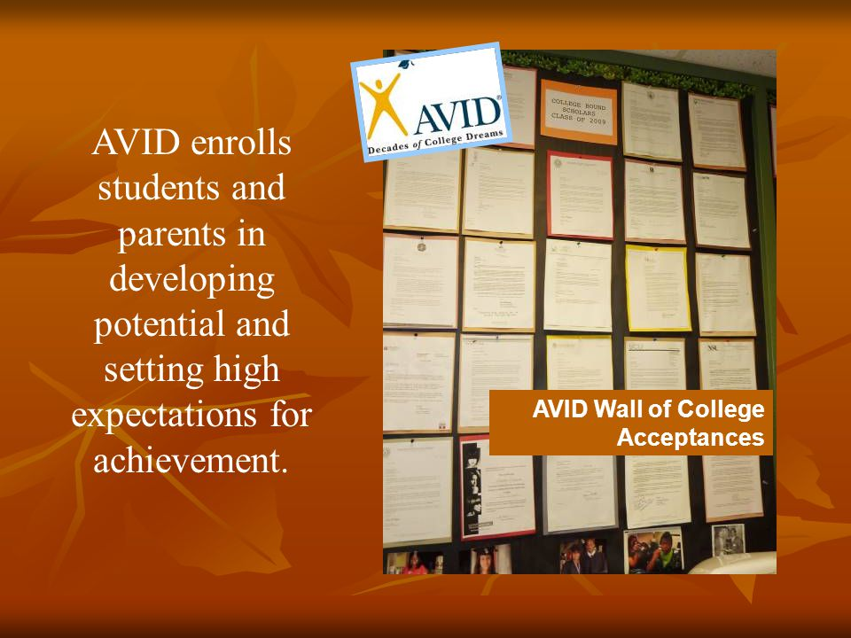 AVID Wall of College Acceptances AVID enrolls students and parents in developing potential and setting high expectations for achievement.
