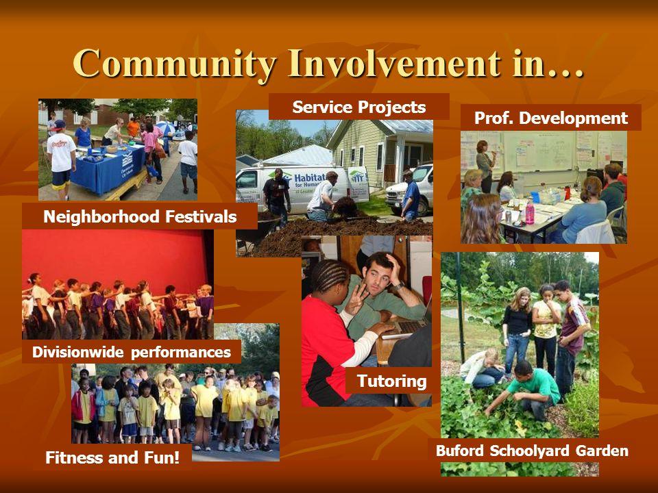 Community Involvement in… Neighborhood Festivals Service Projects Fitness and Fun! Divisionwide performances Buford Schoolyard Garden Prof. Developmen