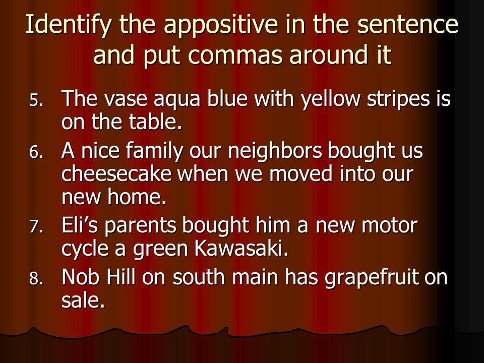 Identify the appositive in the sentence and put commas around it 5.