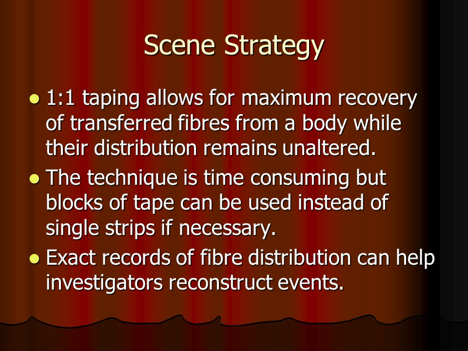 Scene Strategy 1:1 taping allows for maximum recovery of transferred fibres from a body while their distribution remains unaltered.