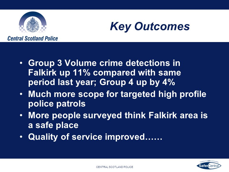 CENTRAL SCOTLAND POLICE Key Outcomes Group 3 Volume crime detections in Falkirk up 11% compared with same period last year; Group 4 up by 4% Much more