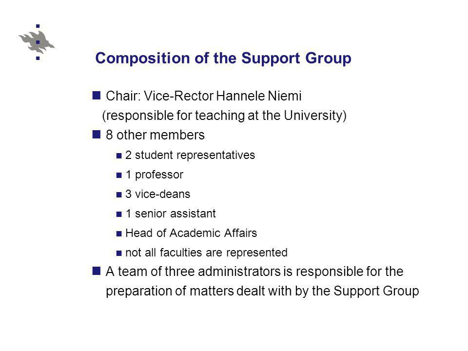 Composition of the Support Group Chair: Vice-Rector Hannele Niemi (responsible for teaching at the University) 8 other members 2 student representatives 1 professor 3 vice-deans 1 senior assistant Head of Academic Affairs not all faculties are represented A team of three administrators is responsible for the preparation of matters dealt with by the Support Group