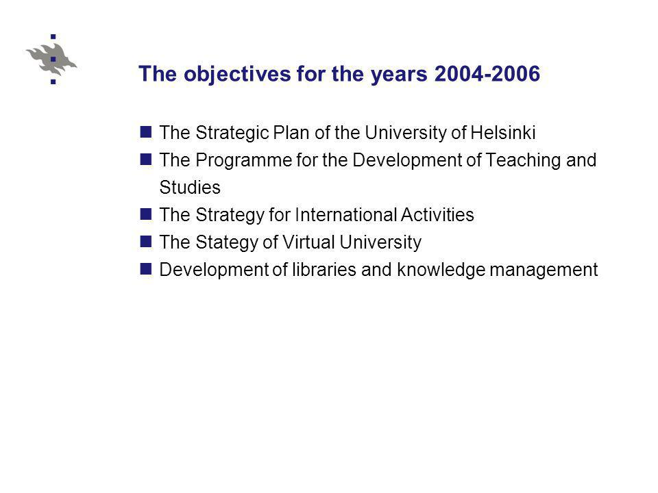 General features of the Bologna Process at the University of Helsinki The faculties responsible for the quality of degrees The Ministry of Education provided project funding for 2004-2006 A support group for the reform of degree structures established in spring 2003