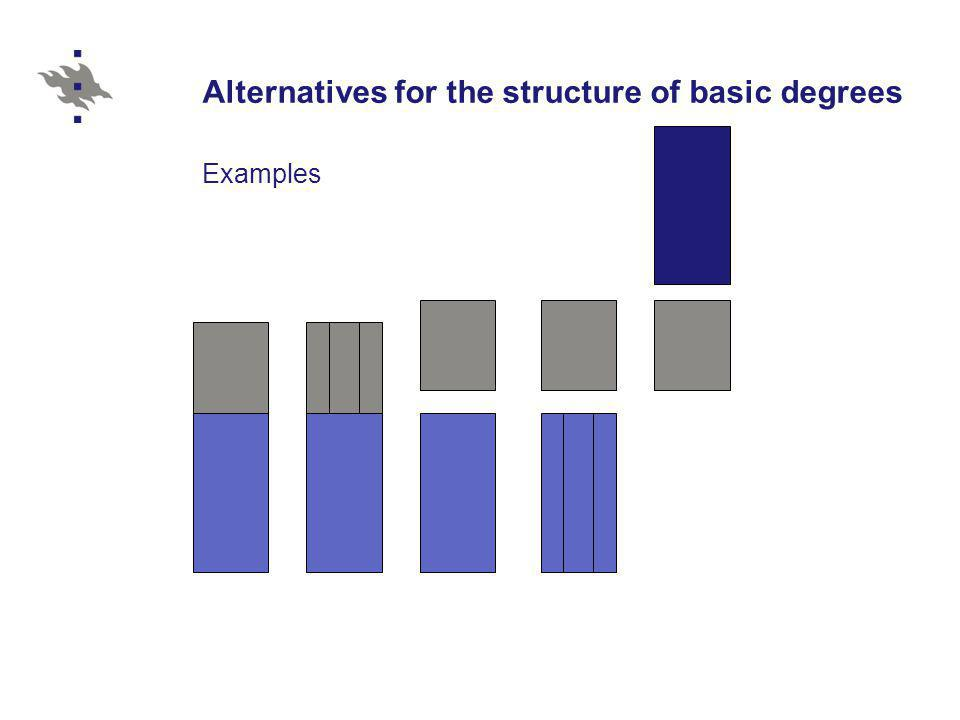 Alternatives for the structure of basic degrees Examples