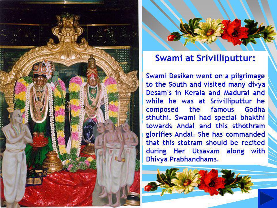 Swami Desikan at Perundevi Thayars sannidhi reciting Sri Sthuthi