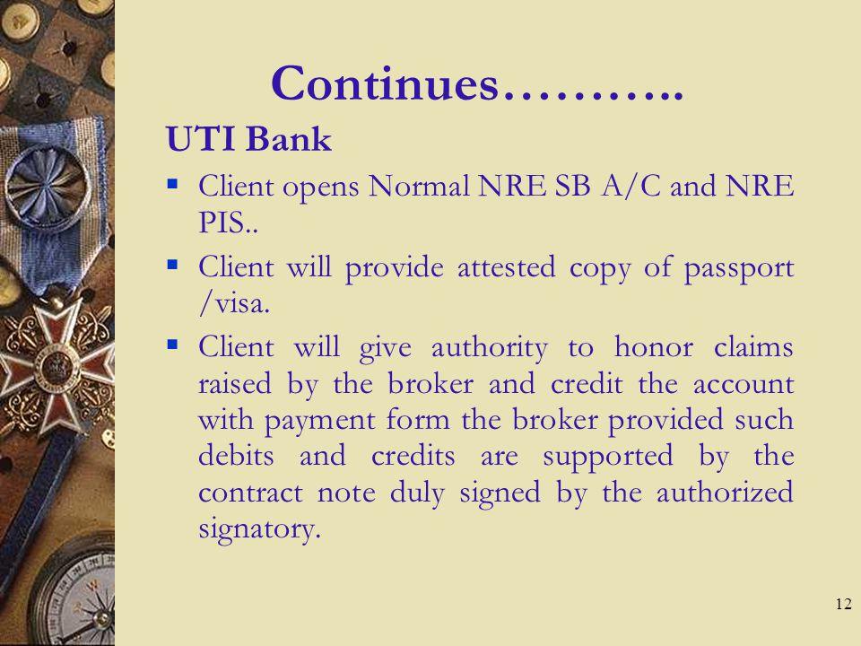 12 Continues………..UTI Bank Client opens Normal NRE SB A/C and NRE PIS..