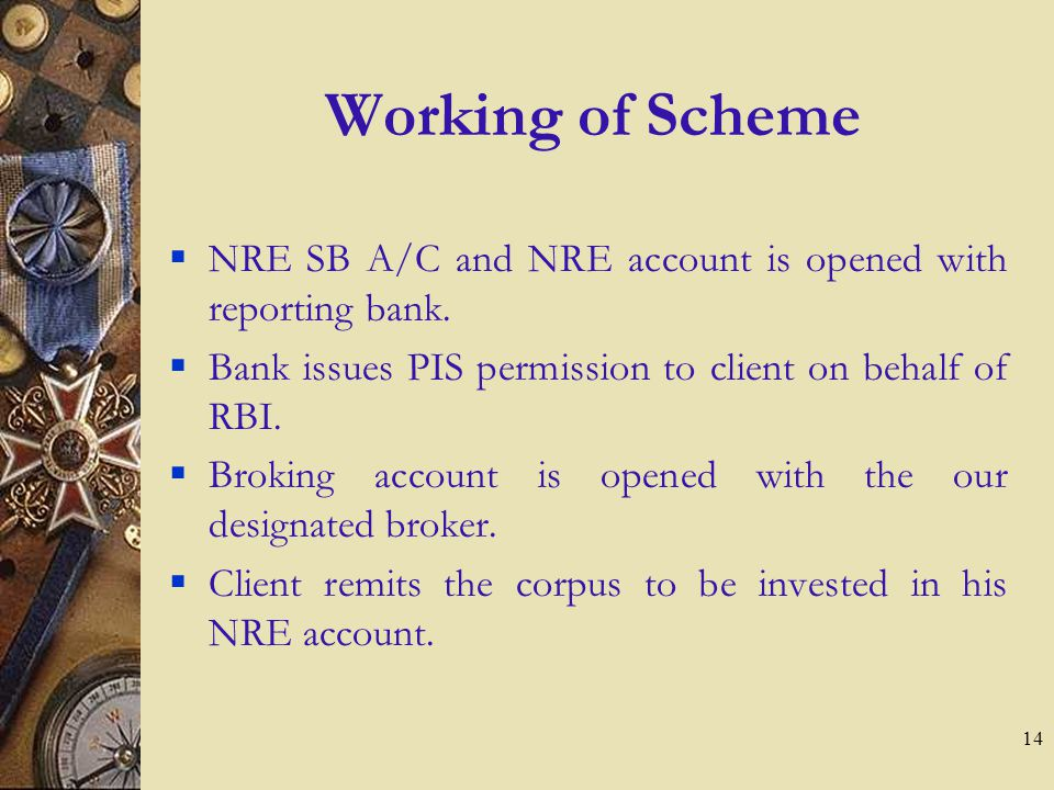 14 Working of Scheme NRE SB A/C and NRE account is opened with reporting bank.