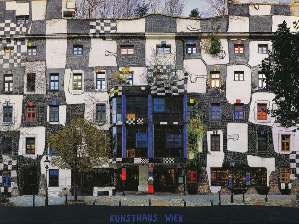 Kunsthaus facade of the building in the Rogner Bad Bluamu, Austria, modeled after the Kunsthaus museum in Vienna, a Friedensreich Hundertwasser project.