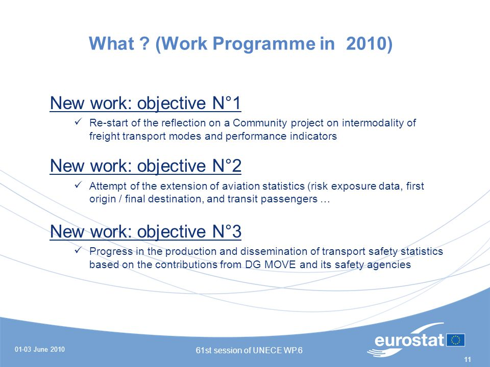 01-03 June 2010 61st session of UNECE WP.6 11 What ? (Work Programme in 2010) New work: objective N°1 Re-start of the reflection on a Community projec