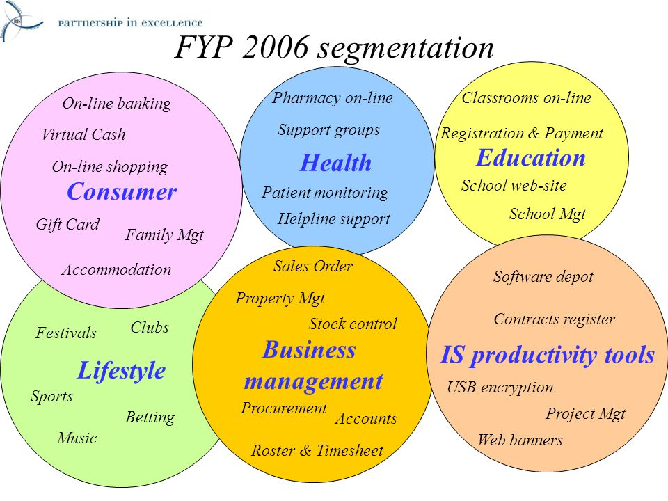 Lifestyle Health FYP 2006 segmentation Consumer Virtual Cash Support groups Education Registration & Payment Business management IS productivity tools