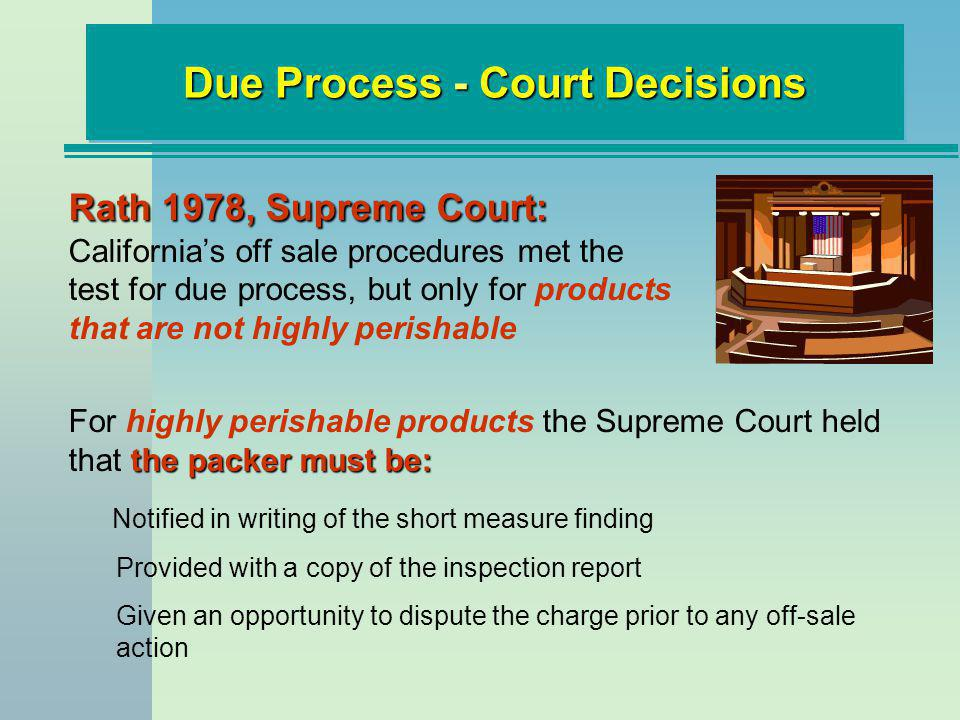 Rath 1978, Supreme Court: Rath 1978, Supreme Court: Californias off sale procedures met the test for due process, but only for products that are not h