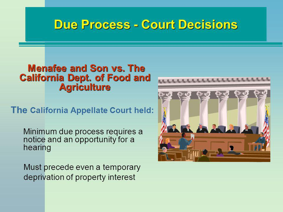 Menafee and Son vs. The California Dept. of Food and Agriculture The California Appellate Court held: Minimum due process requires a notice and an opp