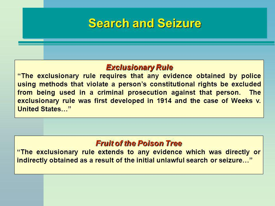 Search and Seizure Exclusionary Rule The exclusionary rule requires that any evidence obtained by police using methods that violate a persons constitu