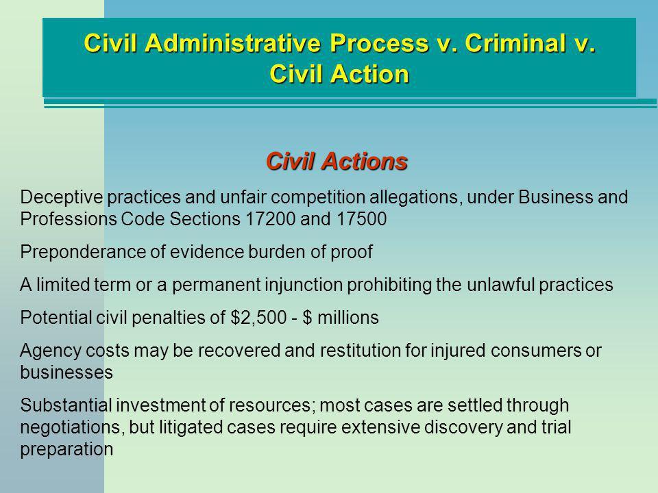 Civil Administrative Process v. Criminal v. Civil Action Civil Actions Deceptive practices and unfair competition allegations, under Business and Prof