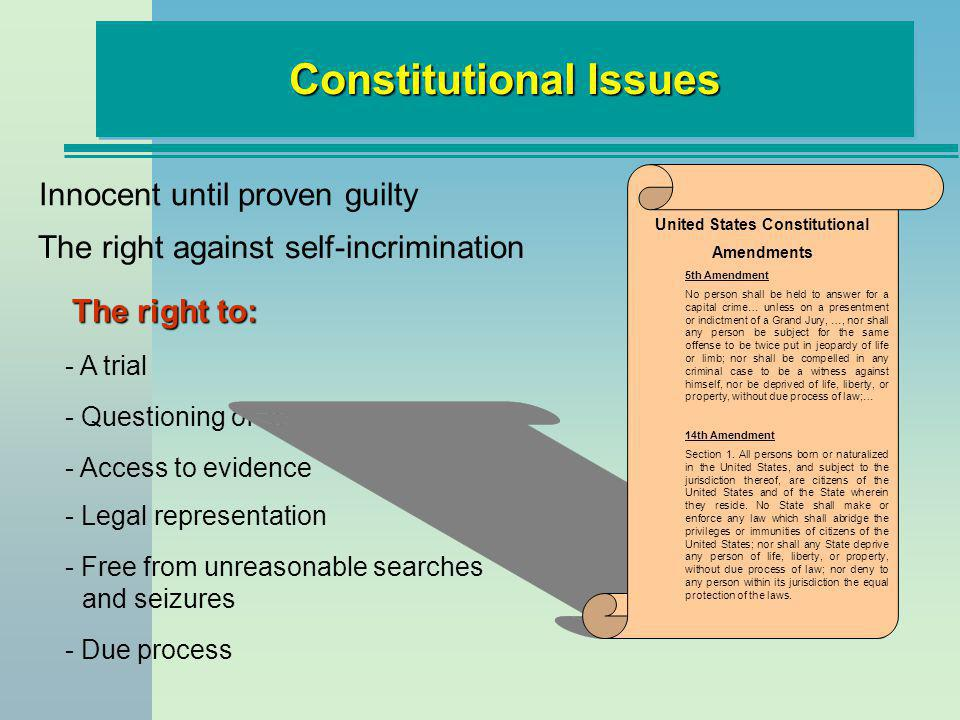 Constitutional Issues The right against self-incrimination The right to: - A trial - Questioning of witnesses - Access to evidence - Legal representat
