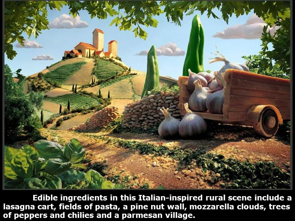 Edible ingredients in this Italian-inspired rural scene include a lasagna cart, fields of pasta, a pine nut wall, mozzarella clouds, trees of peppers