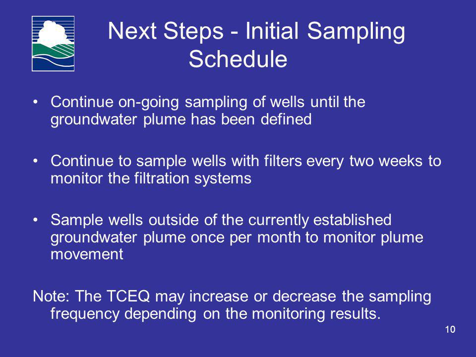 10 Next Steps - Initial Sampling Schedule Continue on-going sampling of wells until the groundwater plume has been defined Continue to sample wells with filters every two weeks to monitor the filtration systems Sample wells outside of the currently established groundwater plume once per month to monitor plume movement Note: The TCEQ may increase or decrease the sampling frequency depending on the monitoring results.