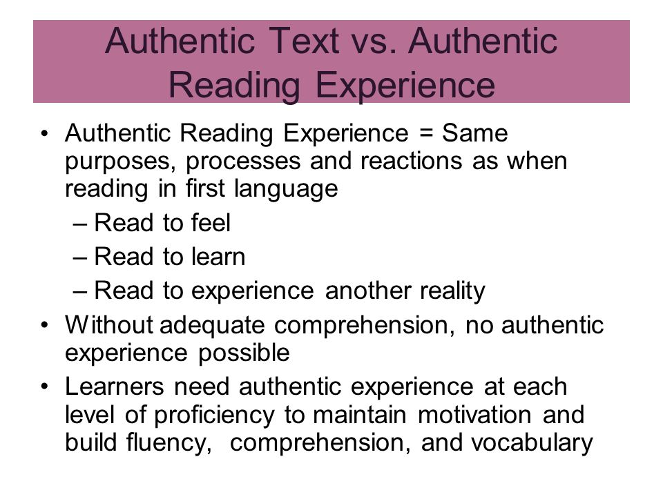 Authentic Text vs.