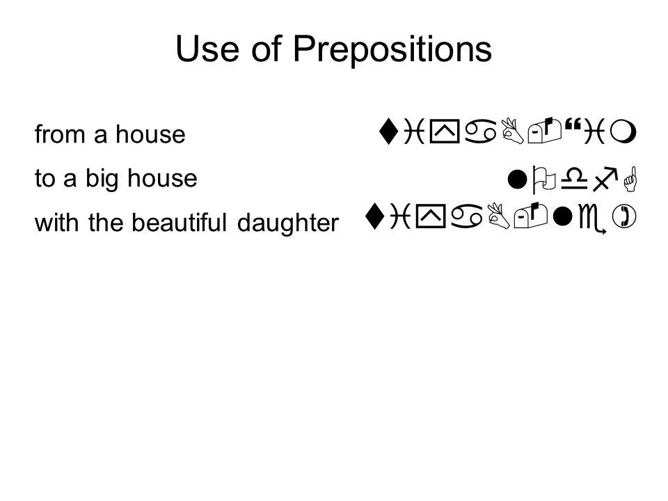 Use of Prepositions tiyaB-}im lOdfG tiyaB-le) hfpfYah taBah {i( (ar { $ yil:B rOxf<ah sUSah-la( }f+fq j ( taxaT from a house to a big house with the beautiful daughter without a bad name upon the black horse under a little tree