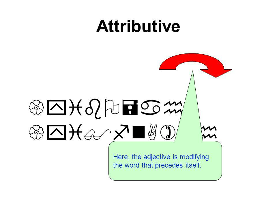 Attributive the good men {yibO=ah {yi$fnA)fh Here, the adjective is modifying the word that precedes itself.