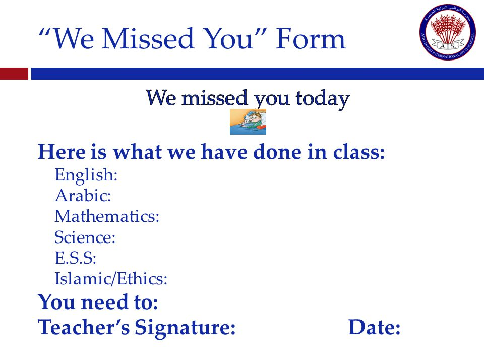 We Missed You Form