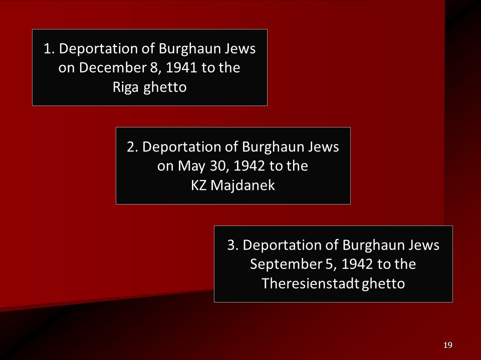 19 1. Deportation of Burghaun Jews on December 8, 1941 to the Riga ghetto 3. Deportation of Burghaun Jews September 5, 1942 to the Theresienstadt ghet